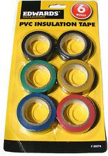 6 rotoli di nastro isolante in PVC PLASTICA bodge ELETTRICO - nero blu