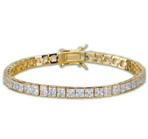 Yellow gold finish princess cut created diamond elegant bracelet