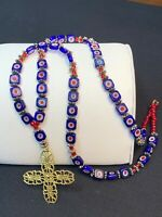 Vintage Art Glass Beaded Pendant Maltese Cross Cobalt Blue Red  Beaded Necklace