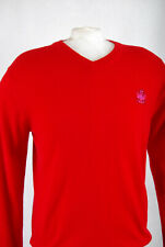 P242b47 IJP Design Ian Poulter Warm Lambswool Red V Neck Jumper,size M (38 in)
