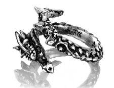 Alchemy Gothic R183 Dragon Vis Viva Ring Swarovski Crystals English Pewter W-y