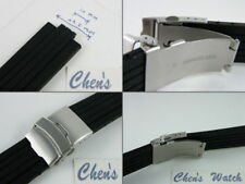 24mm/10mm Rubber Watch Band Silicone Strap w/20mm Buckle Fit TT1 F1 Chron