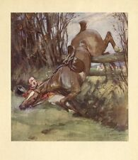 FOX HUNTER AND HORSE FALLING OVER FENCE, RED COATED HUNTSMAN, DECORATIVE PRINT