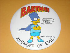 "Vintage 1980's BUTTON PIN Bart Simpson Bartman Large Size 6""  ""Avenger of Evil"""
