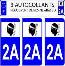 3 sticker plaque immatriculation auto DOMING 3D RESINE DRAPEAU CORSE  DEPARTE 2A