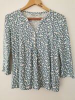 Seasalt 'Castor' Retro Floral Organic Cotton Long Sleeved Top Size UK 12