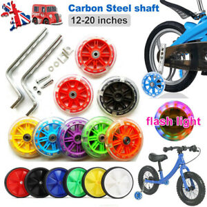 "Kids Universal Bicycle Stabilisers Flashing Training Wheels Bike Safety 12-20"""