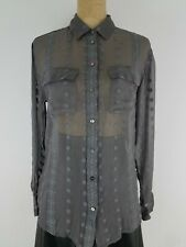 Zoa New York Top Womens Shirt Blouse XS Gray Silk Embroidered Sheer Button Up