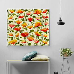 Flower Pattern Oil Painting Print Canvas Poster Wall Hanging Home Modern Decor