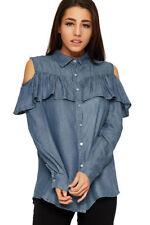 Magliette da donna a manica lunga in cotone blu