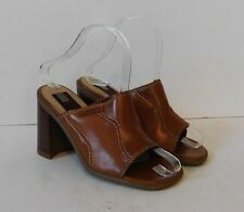 Vintage TOMMY HILFIGER Womens Camel Leather Open Toe Sandals Mules Heels Size 5