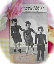Vintage 1940s Toy Knitting Pattern Instructions For WAAF, ATS & WRNS Dolls