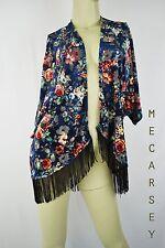MAUVE Multi-color Floral Kimono Fashion Blouse Tassel size S