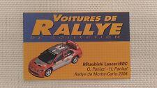 Certificat Voiture De Rallye De Collection « Mitsubishi Lancer WRC »TBE.