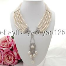 "K082113 18"" 5 Strands White Pearl Necklace CZ Pendant"