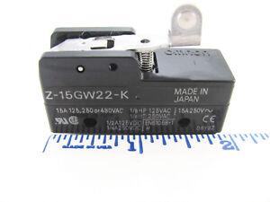 Omron Z-15GW22-K, SPDT 15A 125V. 250V. 477V Short Hinge Roller Lever, Solder Tab