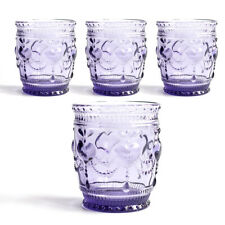 Heart juice glass tumbler, Drinkware glass, cap 8 oz, Purple, set of 4