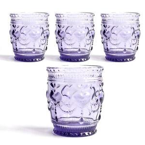Heart juice glass tumbler, Drinkware glass, cap 8 oz, Purple, set of 4