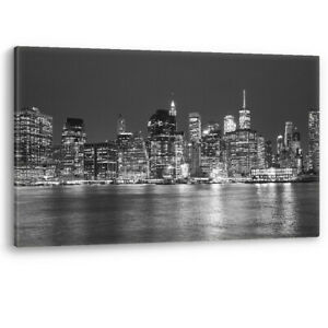Manhattan Skyline New York at Night Framed Canvas Wall Art Picture Print A0 A1