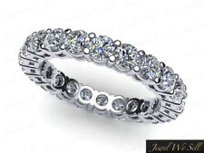 Wedding Band Ring 18k Gold H Si2 0.8Ct Round Cut Diamond Shared Gallery Eternity