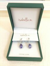 Isabella m EARRINGS 925 Sterling Silver Cubic Zirconia Stones Lever Back New Box