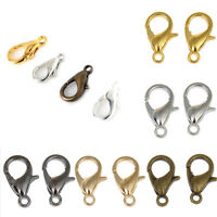 100Pcs Silver/Gold/Bronze Plated Lobster Clasps Claw Hooks Finding 10/12mm DIY