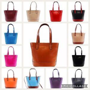 New Womens Handbag Real Italian Leather Designer Shoulder Bucket Bag VERA PELLE