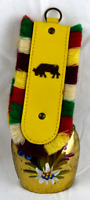 Vintage Switzerland Interlaken Hand Painted Cow Bell with Yellow Leather Fringe