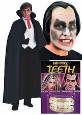 Dracula Vampire Homme Halloween Costume Robe fantaisie tenue CAPE + perruque + dents
