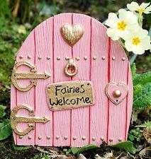 """PINK FAIRY DOOR LARGE IN/OUTDOOR GARDEN ORNAMENT """"FAIRIES WELCOME"""""""