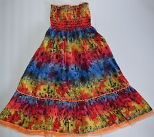 Squeeze Girls Dress Size 10/12 Medium Strapless Sequin Sundress Skirt Multicolor