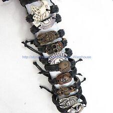 US Seller-$0.7/pc, 50 bracelets faux leather charm hippie punk fashion jewelry