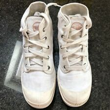 Ladies Palladium, high top canvas shoes size 6, white, lace ups