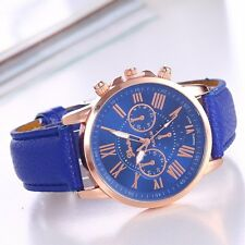Blue Geneva Women Lady Leather Band Stainless Steel Quartz Analog Wrist Watches