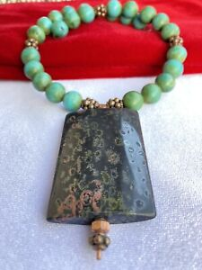 RARE BLUE GREEN TURQUOISE SERPENTINE STERLING SILVER NECKLACE Valentine's Day