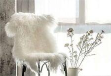 100cm Real Mongolian Fur Rug Single Hide Pelt Bedroom Fur Rug White Carpet US