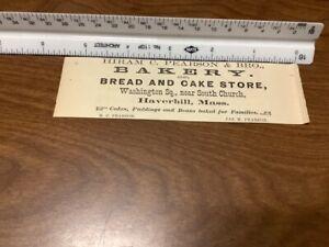 original removed 1869 ad: Hiram C Pearson & bro. BAKERY bread & cake store