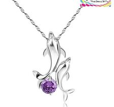 "Sterling Silver Amethyst Dolphin Cubic Zirconia Pendant Necklace 18"" Chain Gift"