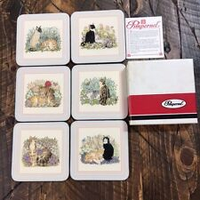 VTG Pimpernel England Garden Cats Cork Backed Coasters in Orignal Box EUC