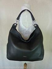 NWT Furla Classic Onyx Black Pebbled Leather Raffaella Hobo Bag $448