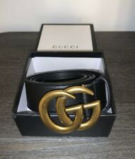 Gucci Black Marmont Double G Buckle Black Leather Belt