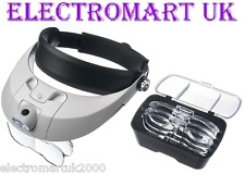 2 LED HEADBAND HEADSET ILLUMINATED MAGNIFIER MAGNIFYING GLASS LOUPE LIGHT