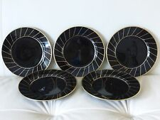 """5 Fitz & Floyd HARLOW Black and Gold Salad Plates 7.5"""" Wide"""