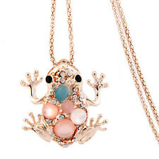 Fashion Woman Frog Necklace Pendant Long Sweater Chain Jewelry Rhinestone Anima