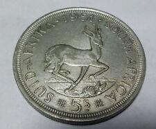 SOUTH AFRICA 5 shillings 1951 SPRINGBOK silver  KM#40.2