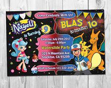 Shopkins & Pokemon Double Birthday Party invite / Combo Party Invitation