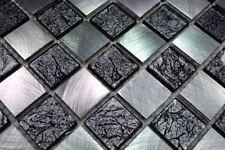Mosaïque aluminium verre Cristal échiquier noir argent bain 49-0302_b   1 plaque