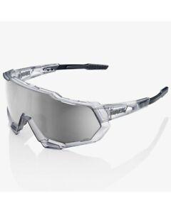 100% Glasses Speedtrap Matte Translucent Crystal Gray - Hiper Sport Silver Mirr