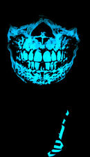 BLUE GLOW IN THE DARK SKULL BLACK BANDANA HALF FACE MASK RAVE UV LIGHT CYBERPUNK