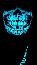 BLUE GLOW IN THE DARK SKULL BLACK BANDANA HALF FACE MASK RAVE UV LIGHT CYBERPUNK